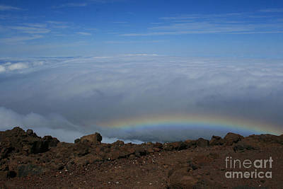 Anuenue - Rainbow At The Ahinahina Ahu Haleakala Sunrise Maui Hawaii Art Print by Sharon Mau