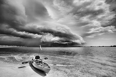 Any Port In A Storm Black And White Art Print