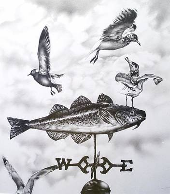 Weathervane Drawing - Any Way The Wind Blows by Michael Lee Summers