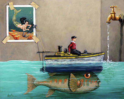 Anyfin Is Possible - Fisherman Toy Boat And Mermaid Still Life Painting Art Print by Linda Apple