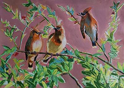 Cedar Waxwings Painting - Anyone For Berry? by Manju Chaudhuri