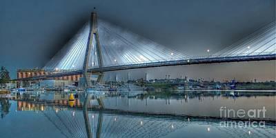 Anzac Bridge By Moonlight. Art Print