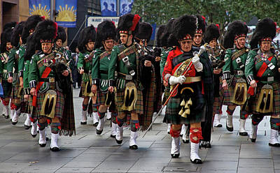 Photograph - Anzac Day March The Hills District Pipe Band  by Miroslava Jurcik
