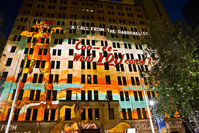 Photograph - Anzac Pictures Projected In Martin Place 4 by Miroslava Jurcik
