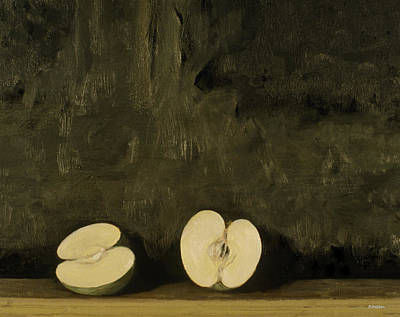 Painting - A Sliced Apple And A Chunk Of Asphalt by Robert Holden