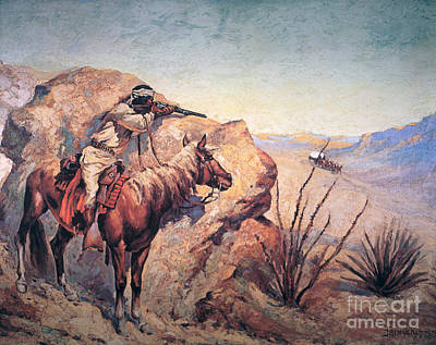Native American War Horse Painting - Apache Ambush by Frederic Remington