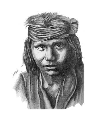 Drawing - Apache Boy by Lawrence Tripoli