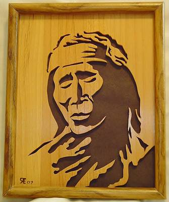 Scroll Saw Sculpture - Apache Brave by Russell Ellingsworth