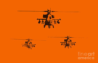 Helicopters Painting - Apache Dawn by Pixel  Chimp