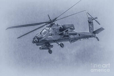 Apache Helicopter In Blue Art Print by Randy Steele