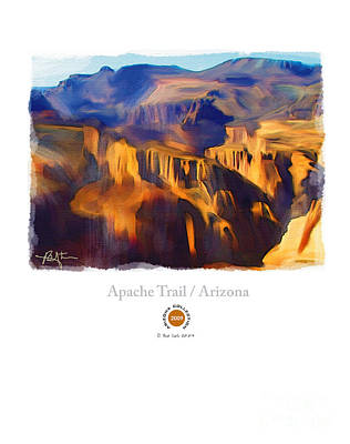 Canyons Mixed Media - Apache Trail Desert Mountains by Bob Salo