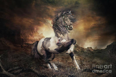 Digital Art - Apache War Horse Landscape by Shanina Conway