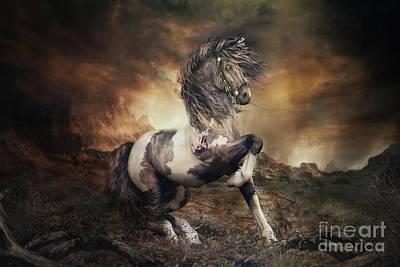 Apache War Horse Landscape Art Print