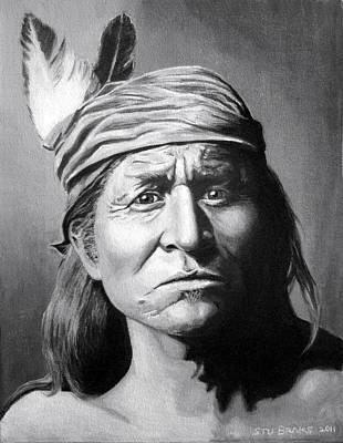 Native American Painting - Apache Warrior by Stu Braks