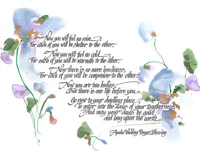 Calligraphy Painting - Apache Wedding Prayer Blessing by Darlene Flood