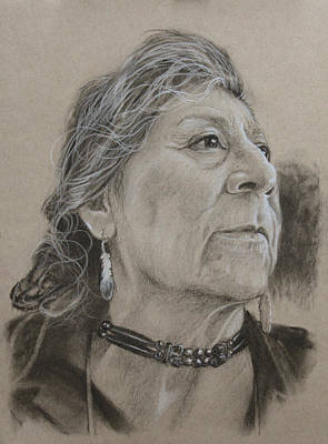 Drawing - Apache Woman by Todd Cooper