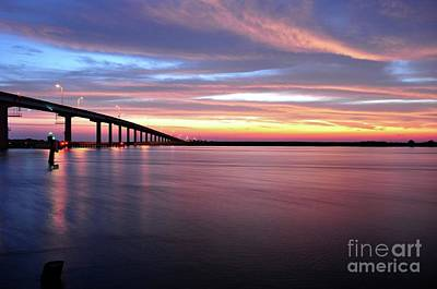Apalachicola Bridge At Watercolor Sunrise Print by Mark  Stratton