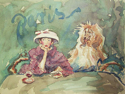 Painting - Aperitif For Madame And Her Dog by Lynn Gimby-Bougerol