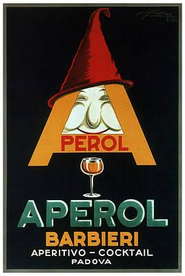 Mixed Media - Aperol Barbieri - Cocktail Food And Drink Poster - Vintage Advertising Poster by Studio Grafiikka