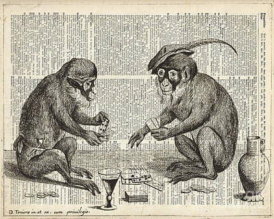Wine Art Drawing - Apes Playing Cards Illustration Over Old Book Page by Jacob Kuch