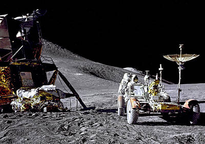 Photograph - Apollo 15 Lunar Module And Rover by Weston Westmoreland