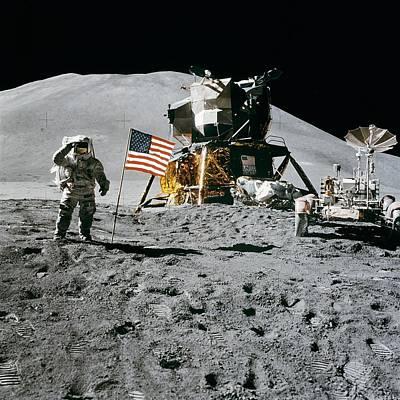 Apollo 15 Pyrography - Apollo 15 Lunar Module Pilot James Irwin Salutes The U.s. Flag by Artistic Panda