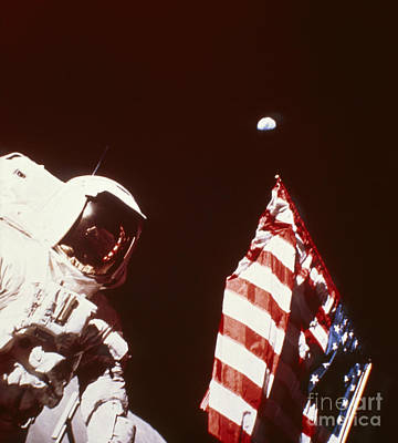 Apollo 17 Astronaut On Moon With Flag Art Print by NASA / Science Source