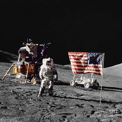 Apollo 17 Astronaut Stands Art Print by Stocktrek Images