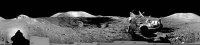 Landmarks Painting Royalty Free Images - Apollo 17 misson, lunar panoramas, nasa 2 Royalty-Free Image by Celestial Images