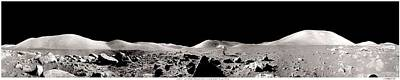 Landmarks Painting Royalty Free Images - Apollo 17 Panorama with Running Astronaut, nasa Royalty-Free Image by Celestial Images