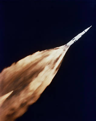 Apollo 6 Spacecraft Leaves A Fiery Art Print by Stocktrek Images