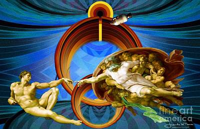Apollo 8 And The Creation Of Adam In Blue Art Print by Art Gallery