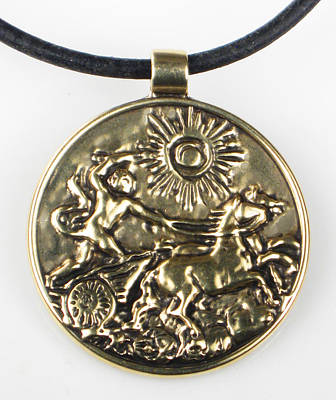 Digital Art - Apollo And His Chariot To The Sun - Bronze Pendant by Vagabond Folk Art - Virginia Vivier