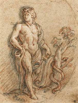 Python Drawing - Apollo And The Python by Charles De La Fosse