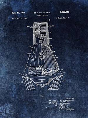 Space Ships Drawing - Apollo Command Module Patent by Dan Sproul
