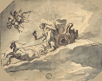 Drawing - Apollo In His Chariot by Cosmas Damian Asam