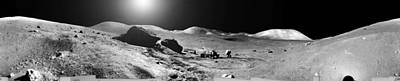 Landmarks Painting Royalty Free Images - Apollo misson, lunar panoramas, nasa 7 Royalty-Free Image by Celestial Images