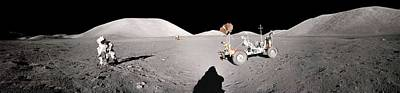 Landmarks Painting Royalty Free Images - Apollo misson, lunar panoramas, nasa 9 Royalty-Free Image by Celestial Images