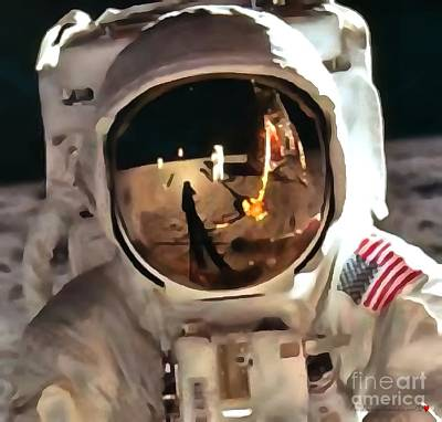 Man In The Moon Digital Art - Apollo Moon Mission In Thick Paint 1 by Catherine Lott