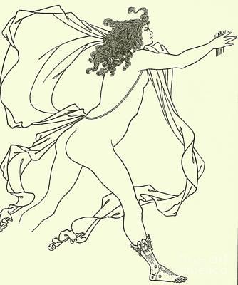Goddess Mythology Drawing - Apollo Pursuing Daphne by Aubrey Beardsley