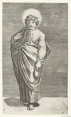 Abstract Purse Painting - Apostle Matthew With Purse, Marco Dente, After Marcantonio Raimondi, Raphael, 1517 - 1527 by Celestial Images