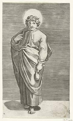 Ceramics Painting - Apostle Matthew With Purse, Marco Dente, After Marcantonio Raimondi, Raphael, 1517 - 1527 by Celestial Images