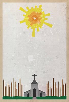 Digital Art - Apostles' Creed 5 - Church by Jason Custer