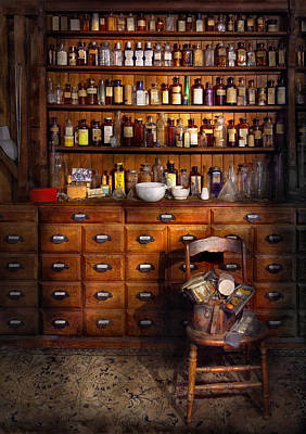 Apothecary - Just The Usual Selection Art Print by Mike Savad