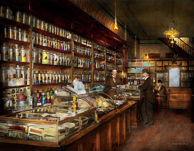 Apothecary - A Visit To The Chemist 1913 Art Print by Mike Savad