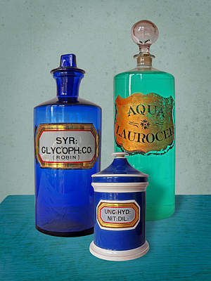 Photograph - Apothecary Blues - Pharmacy Bottles And Jars by Gill Billington