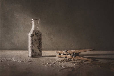 Sepia Tone Photograph - Apothecary Bottle And Clothes Pin by Scott Norris