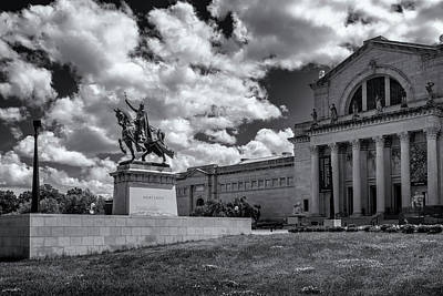 Photograph - Apotheosis Of St Louis And Art Museum Black And White _dsc4885 by Greg Kluempers