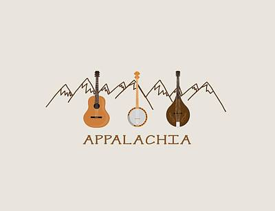 Banjo Digital Art - Appalachia Mountain Music by Heather Applegate