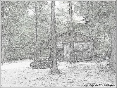 Simplicity Drawing - Appalachian Cabin by Gina Seymour